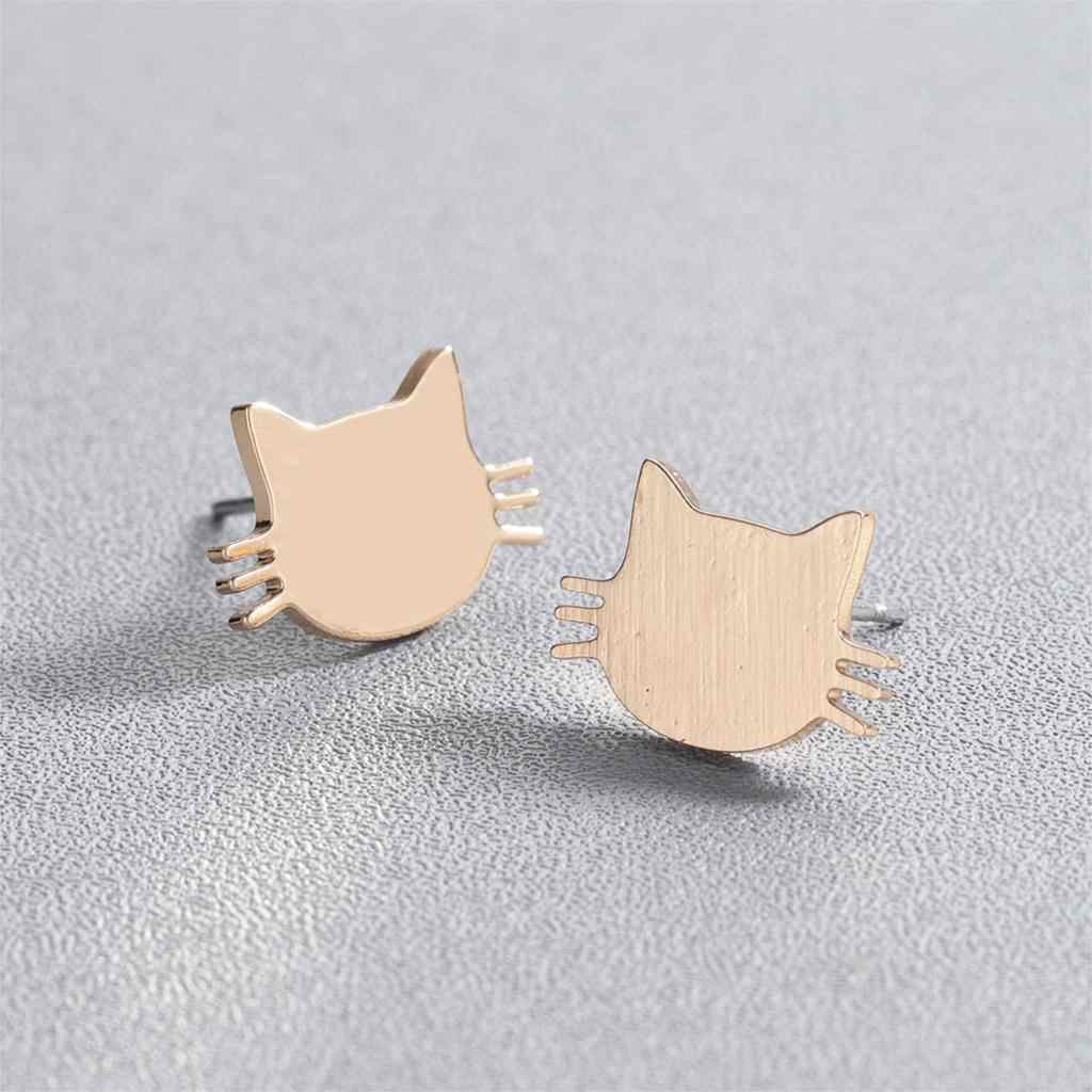 Cxwind ze stali nierdzewnej kot stadniny kolczyki dla kobiet dzieci prosta biżuteria Kitty Cat kolczyki akcesoria boucle d'oreille femme