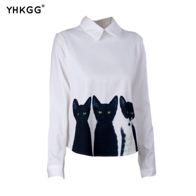 100% di alta qualità grande sconto grande collezione US $11.8  Il nuovo burlone siepe camicia a maniche lunghe colletto della  camicia tre gatti abbigliamento donna in Il nuovo burlone siepe camicia a  ...