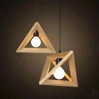 Modern Oak Wood Retro Chandelier Cafe Bar Wooden Shuttle Triangle Hanging Lamp kitchen dining bar
