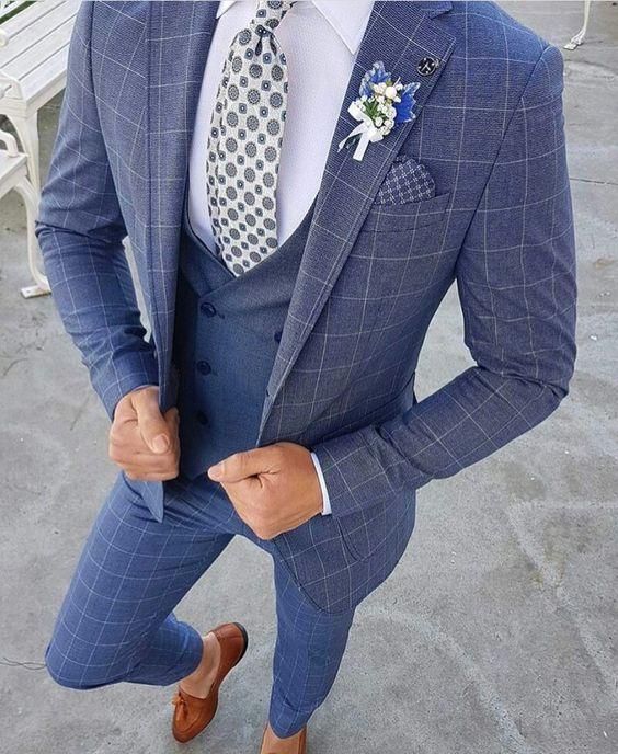 Custom Made Light Blue Two Button Street Style Men Slim Fit Suit /Notch Lapel Groomsmen Men Wedding Suits(jacket+pant+vest)