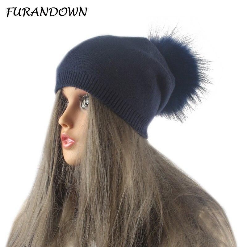 Musim dingin Musim Gugur Pom Pom Beanies Topi Wanita Rajutan Wol - Aksesori pakaian - Foto 2