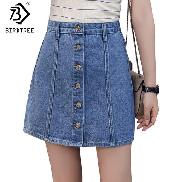 e1bbe6c8e2 Girl Thin Single Breast Button Denim Skirt A-Line Skirt Korean Denim Short  Mini Skirts Summer Package Women Preppy Style B82909A