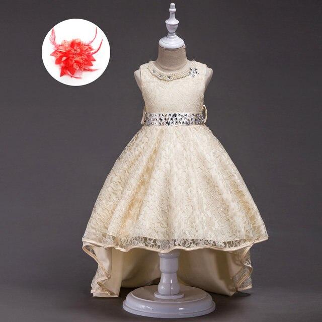 Online Shop American Rhinestone Evening Gowns Children Beige Red ...