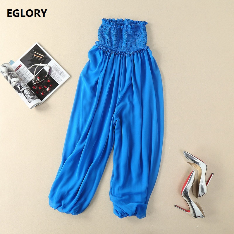 New 2018 Summer Fashion Pants Women Empire Waist High Quality Chiffon Casual Loose Pants Blue Black Trousers Bohemian Ladies