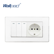 цена на 3 Gang Switch and EU Socket Wallpad Luxury Wall Outlet Acrylic Panel 146*86mm EU Outlet Schuko + 3 Gang 2 Way Wall Switches