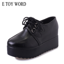 E TOY WORD women shoes 2019 Black Platform Shoes Spring Autumn Creepers Shoes Women Lace Up Flats Shoes Comfortable Ladies Shoes famiao 2018 new women shoes muffin heavy bottomed creepers platform shoes women flats lace up creepers women casual shoes