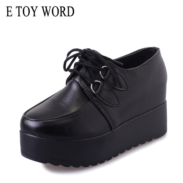E TOY WORD womens Creepers solid women shoes Flat Platform Shoes Black Women Casual Shoes Lace Up fashion Female flats