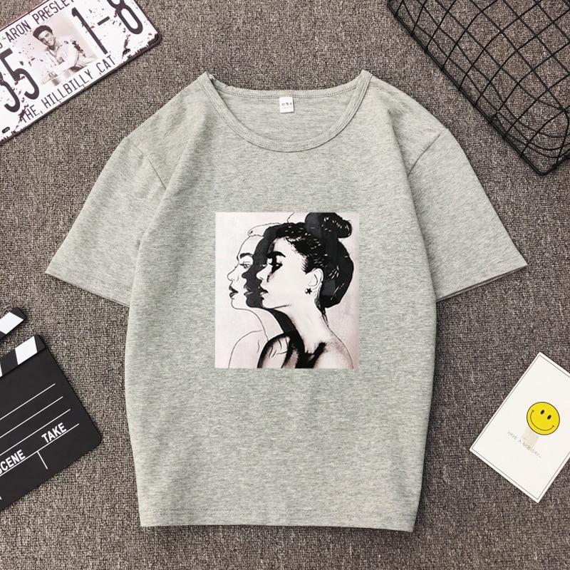 New Fashion T shirt Woman Spring Summer Girls Print Short Sleeve O Neck Cotton Spandex Women Top Slim Fit Soft Women Tshirt 7