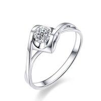 Bague en diamant 18 k Or Blanc 2.5mm 0.05ctF-G couleur Excellente SI Clarté Coeur Style Halo Anneau Pour de mariée/Femmes/Dame