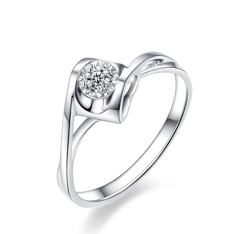 Genuine Diamond Ring 18k White Gold 0.15ct F-G color Excellent SI Clarity Heart Style Halo Ring For Bridal/Women/Lady punk style solid color hollow out ring for women