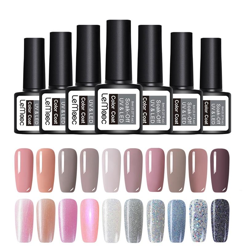 920411735d US $0.99 35% OFF|LEMOOC Glitter Gel Nail Polish 8ml Soak Off UV Gel Varnish  70 Colors Pure Color Manicure Nude Pink Purple Gray Nail Gel Lacquer-in ...