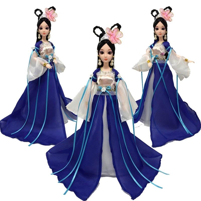Accesorios para muñecas Cosplay ropa tradicional china antigua belleza vestuario para barbie muñeca vestido de fiesta vestidos de noche azul