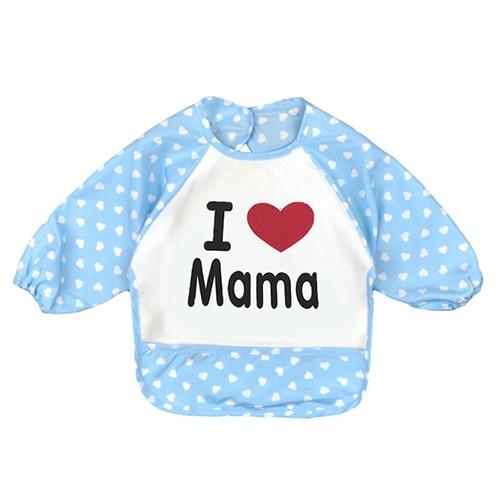 HOT SALE Baby Toddler Waterproof Long Sleeve Children Kids Feeding Art Smock Bib Pattern:Blue mama