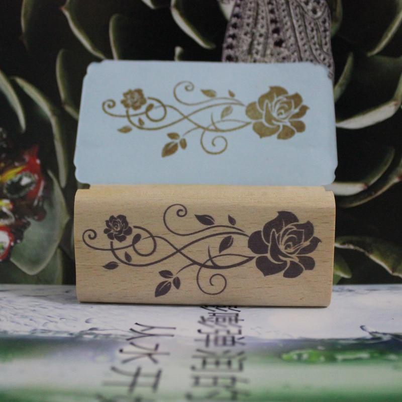 Haute qualité rose en caoutchouc timbre diy carte postale ou signet scrapbooking timbre 3