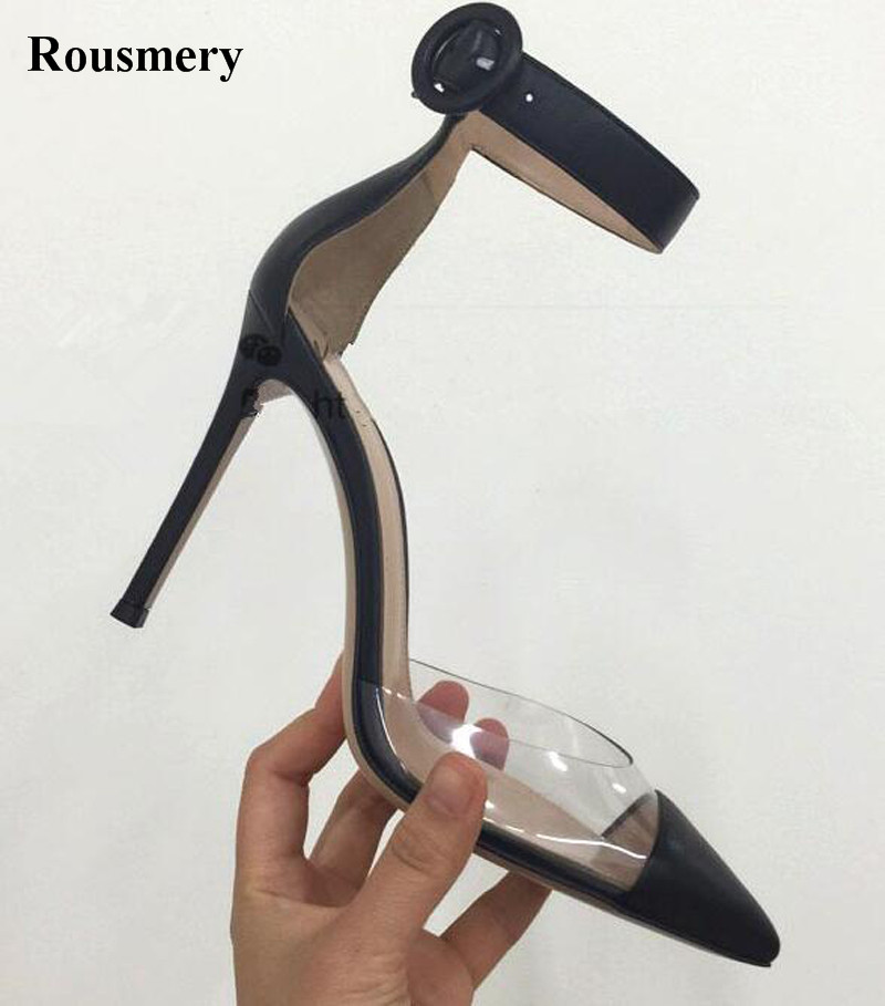 New Fashion Women Pointed Toe Transparent Ankle Strap Pumps Sexy Patchwork Color Buckle Design High Heel Formal Dress Shoes women classical design silver pointed toe transparent pumps ankle buckle design 12cm high heels formal dress shoes