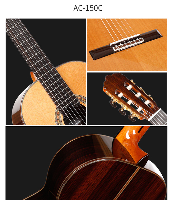 """Professional Handmade 39"""" Full Solid Acoustic Classical guitar With Solid Cedar Top/ Solid Rosewood Body +Original 30MM ,Gloss 3"""