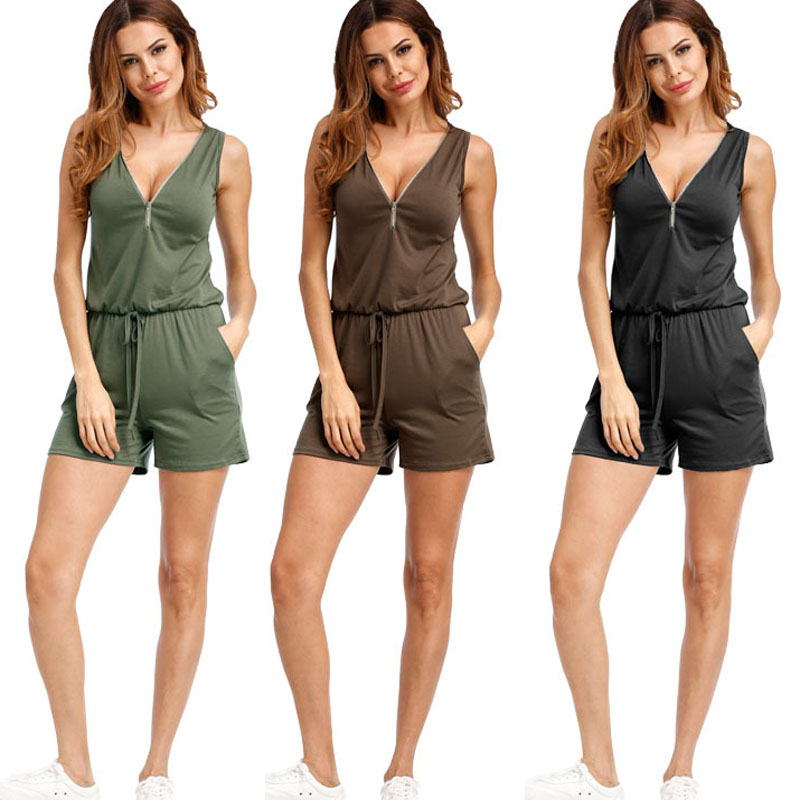Sexy Sleeveless   jumpsuit   romper 2019 summer women zipper   jumpsuit   pocket shorts beach   jumpsuit   coveralls sexy female frock S-2XL