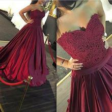 Burgund Prom Kleider Eine Linie Schatz Spitze Satin Falten Abendkleider Lange Zurück Celebrity Kleider Formale Kleid