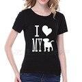I LOVE MY DOG print graphic tee shirt femme de gran tamaño suelta de algodón mujeres de la camiseta tops negro blanco camiseta de las mujeres S-2XL camiseta