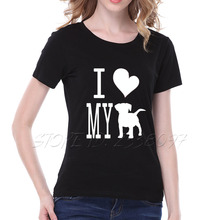 I LOVE MY DOG print graphic tee shirt femme large size loose cotton t-shirt women tops black white women t shirt S-2XL tshirt