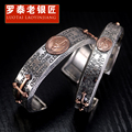 Skills and old silversmith s925 silver men's bracelet Thai silver cross restoring ancient ways is the virgin couple bracelet