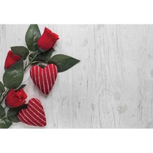 Laeacco Flowers Wooden Boards Wall Red Hearts Party Ceremony Scene Photography Background Photographic Backdrop For Photo Studio