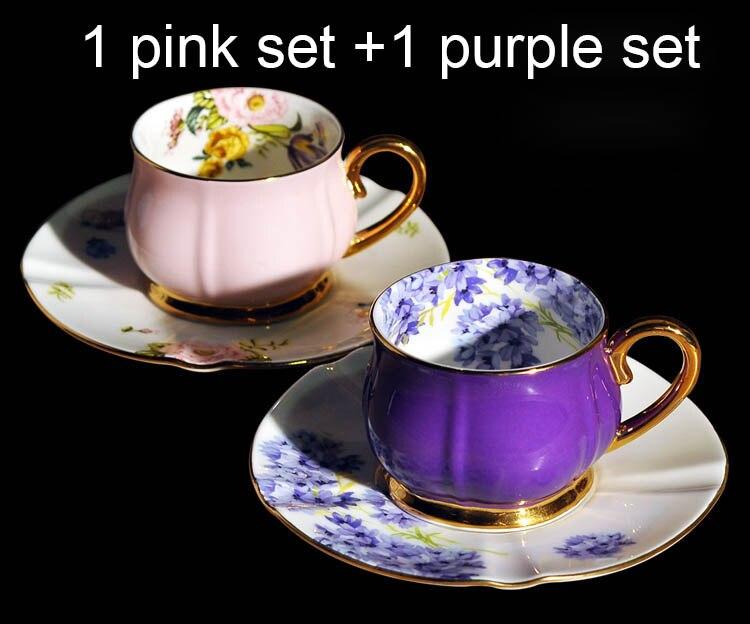 Céramique porcelaine porcelaine 2 tasses 2 soucoupes ensemble 100 ml supérieure luxe plaqué or après-midi thé Cappuccino expresso tasse à café