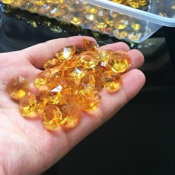 10 sztuk żółty 14 MM ośmiokątne koraliki kryształowy pryzmat żyrandol części łańcuch dekoracji DIY Spacer tanie i dobre opinie YellowOctagon 14mm Kryształowy żyrandol