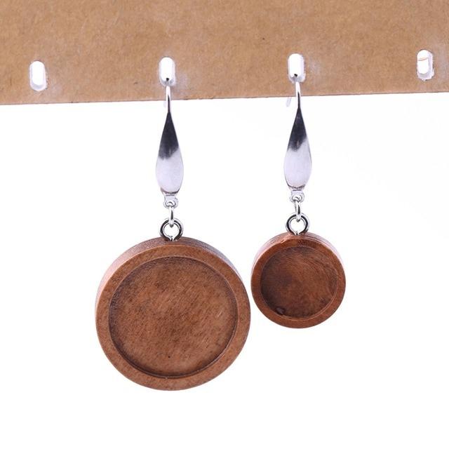06e1f9ce8464 reidgaller 5 pairs brown wood cabochon earring base 12mm 20mm dia blank  bezel settings diy stainless steel ear wire hooks