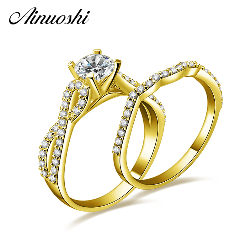 AINUOSHI 10k Solid Yellow Gold Weaving Ring Set 4 Prongs 0.7ct Round Cut Trendy Engagement Wedding Jewelry Gift for Woman