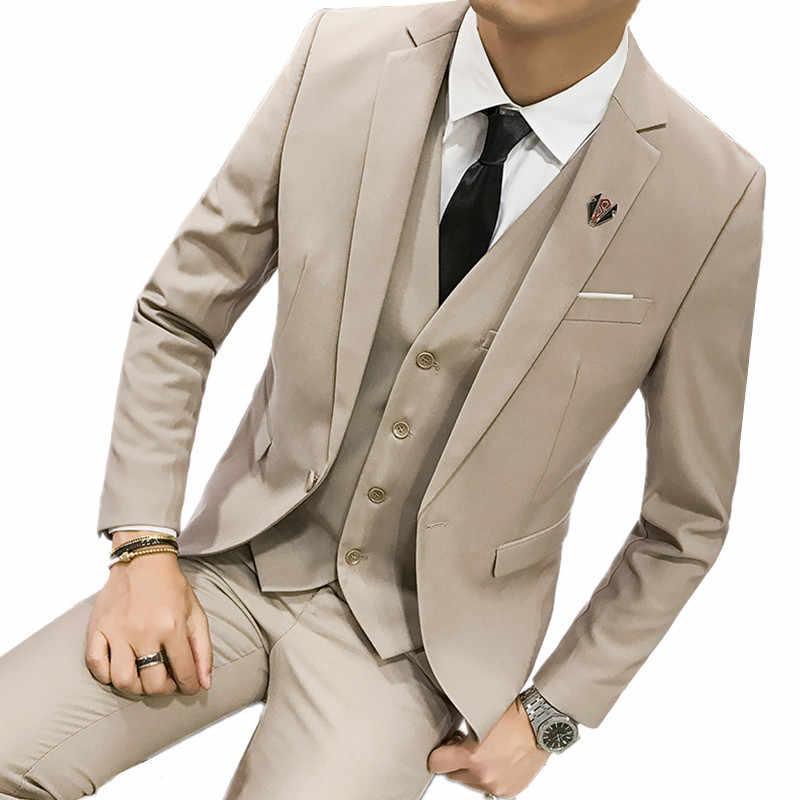 Calça jaqueta Colete Homens 3 Peças Casual Slim Fit Terno Smoking/Ternos Masculinos Set Vestido de Casamento Do Noivo negócios Blazers calças S-3XL