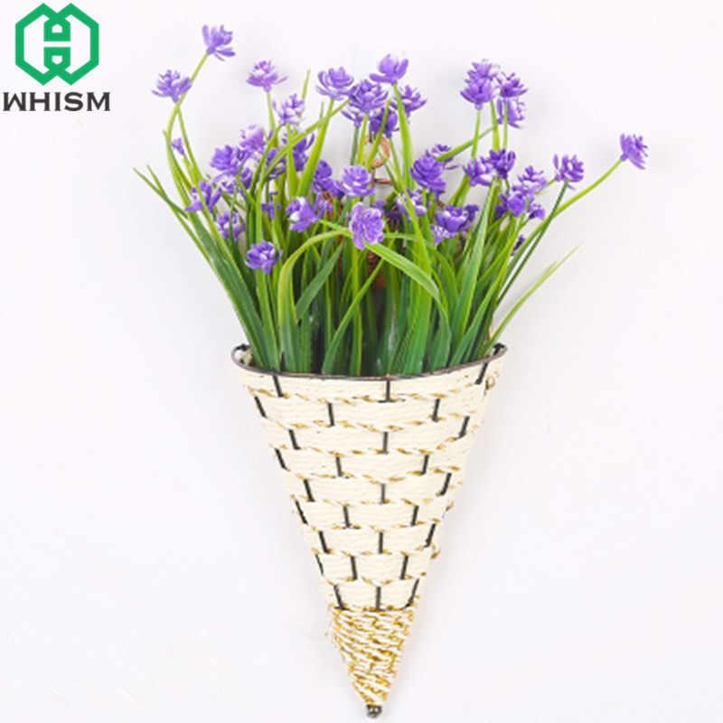 WHISM Rattan Flor Vaso de Flores Flor Artificial Cesta De Suspensão De Parede Sorvete Recipiente Montado Na Parede Planta Vaso Plantador Do Jardim