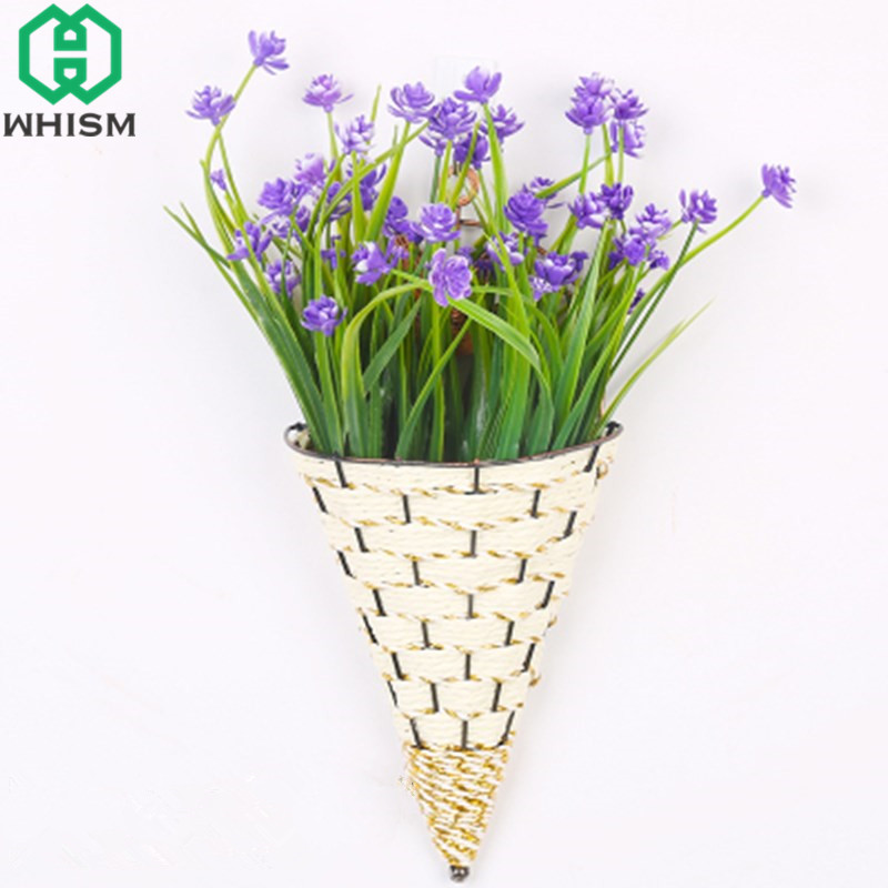 Whism Rattan Flower Pot Wall Hanging Ice Cream Basket Artificial Container Mounted Plant Vase Garden Planter In Pots Planters