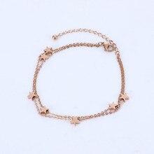 Rose oro color multi estrella pulsera femme pulseira feminina, moda doble cadenas pulseras brazaletes para las mujeres joyeria