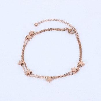 Rose gold color multi star bracelet femme pulseira feminina fashion double chains bracelets bangles for women