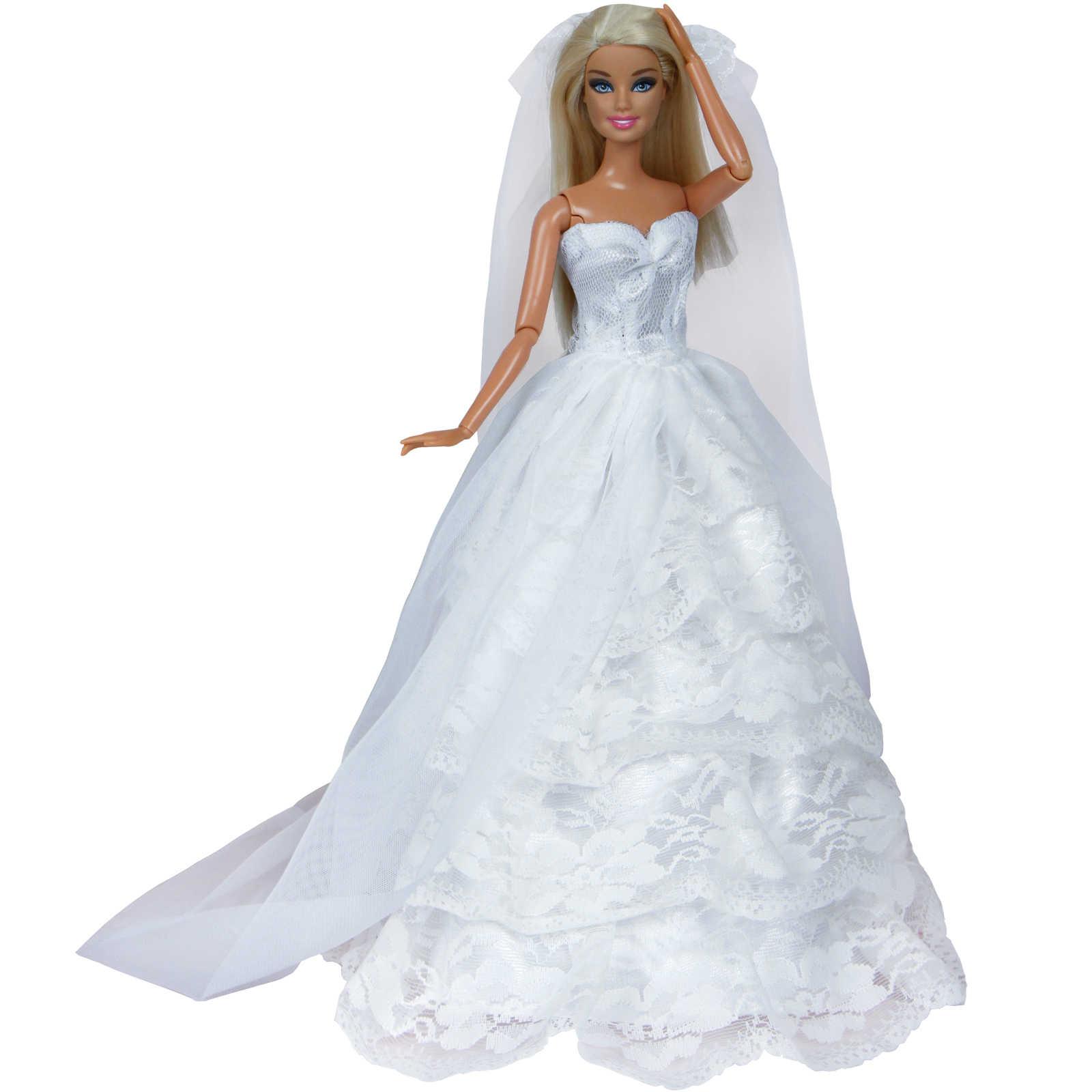 Свадебное платье ручной работы принцесса Вечеринка бальное длинное платье юбка Свадебная одёжная вуаль для куклы Барби аксессуары Рождество DIY игрушка