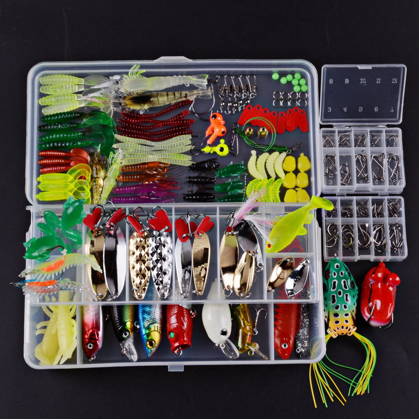Fishing Lures Set Mixed Minnow/Popper/Frog Lure/Soft Silicone Bait Lure Spinner Spoon Grip Hook Isca Artificial Bait Kit Pesca goture 96pcs fishing lure kit minnow popper spinner jig heads offset worms hook swivels metal spoon with fishing tackle box
