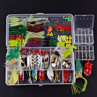 Fishing Lures Set Mixed Minnow/Popper/Frog Lure/Soft Silicone Bait Lure Spinner Spoon Grip Hook Isca Artificial Bait Kit Pesca