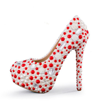 2016 New Designer White and Red Pearl Wedding Party Shoes Gorgeous Women High Heel Platform Shoes Bridal Pumps Plus Size