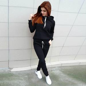 Image 2 - 2019 New Long Sleeve Patcwork Top Pants 2 Piece Sets Women Tracksuit Sportswear Hoodies Sweater Suits Sporting Suit Women