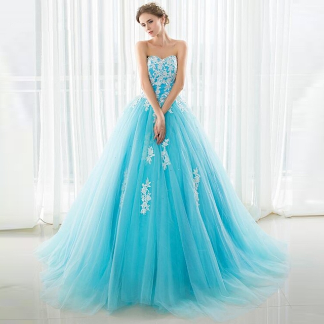 SHAMAI Strapless In Stock Light Blue Tulle Prom Ball Gowns White Appliques Quinceanera Dresses Beading Wedding Party Dresses