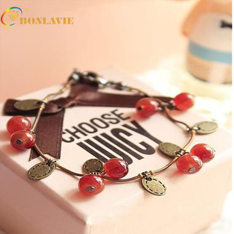 2017 New Fashion Trendy Sweet Cute Coin Red Cherry Charm Chain Bracelet Red Color For Women Jewelry Gift
