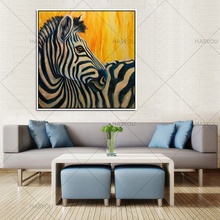 Christmas Art gift Colorful Zebra 100% Handpainted Oil Painting Canvas Animal for Home Decor Wall