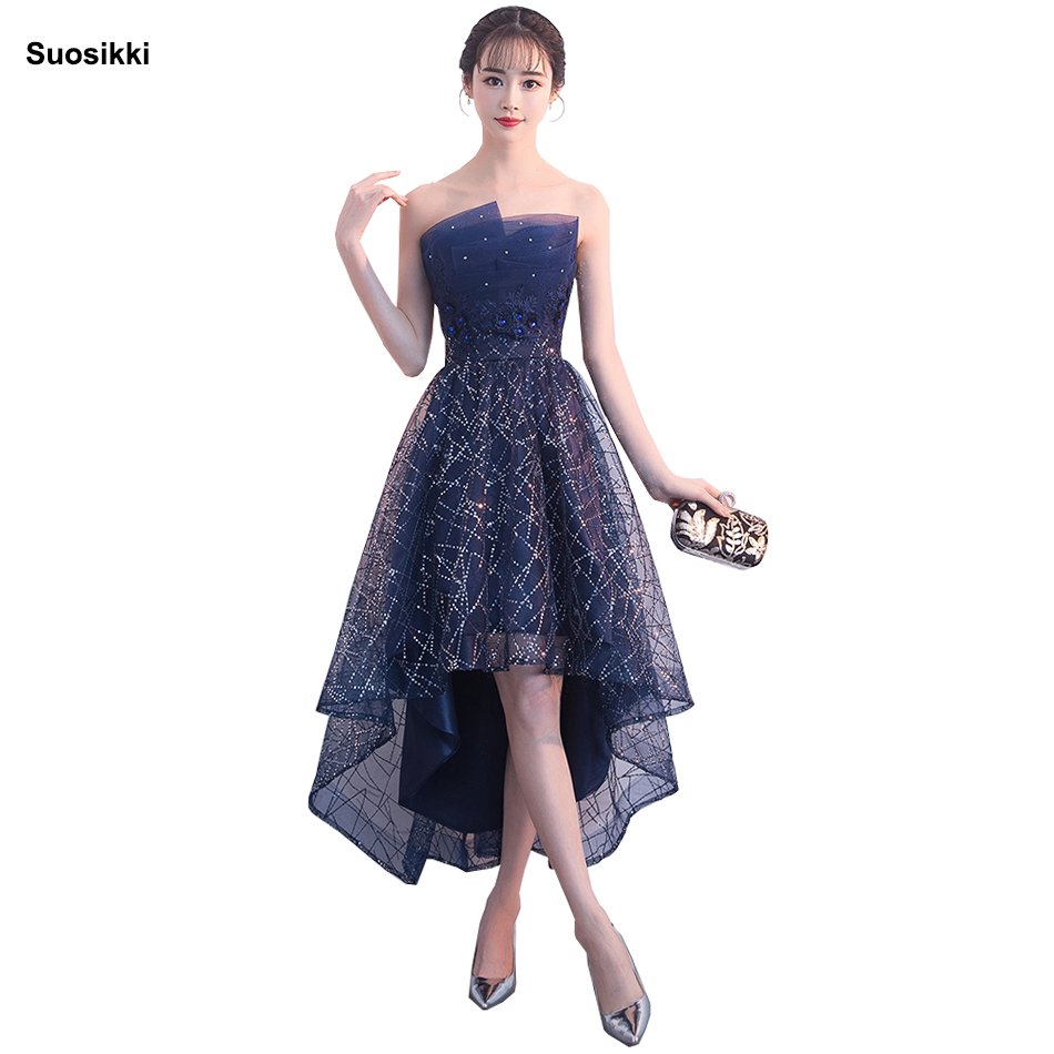 Suosikki Sexy Strapless Sleeveless Short Front Long Back Lace Flower Evening Dress Bride Banquet Formal Party Gowns Vestidos