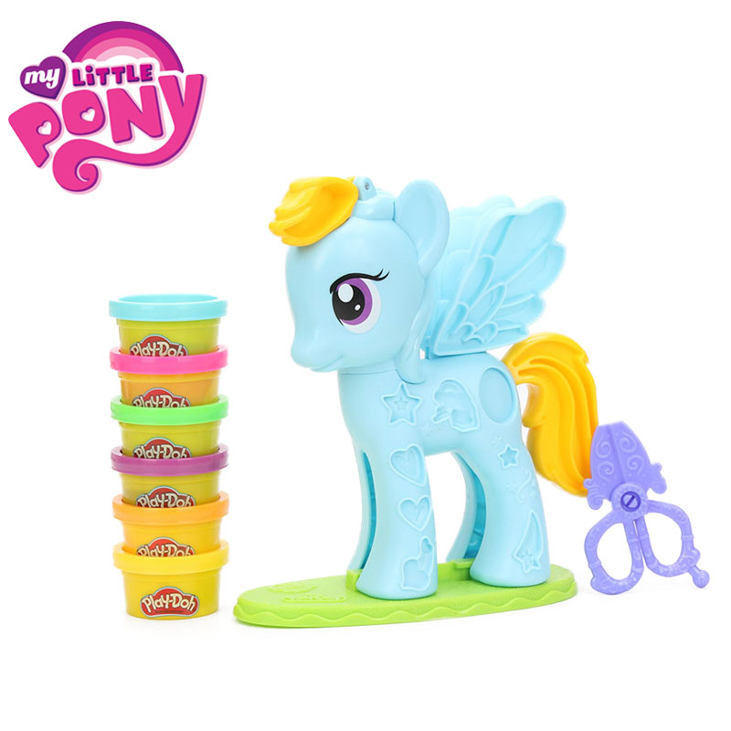Play Doh My Little Pony Rainbow Dash Style Salon Playset Colorful Pony PVC Action Figure Collectible Model Pony Dolls for Girls всё для лепки play doh игровой набор город магазинчик домашних питомцев