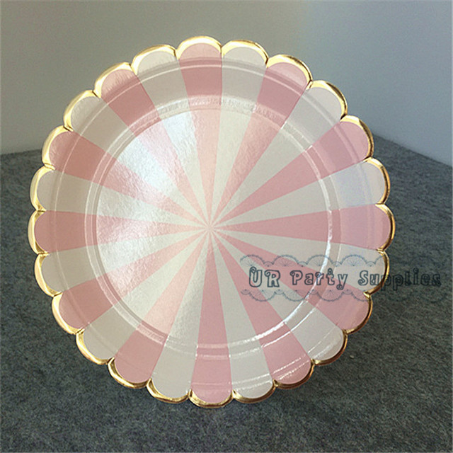 240pcs Party Plates Light Pink/Yellow Stripe Foil Gold Scallop Shell Design Party Paper Plates & 240pcs Party Plates Light Pink/Yellow Stripe Foil Gold Scallop Shell ...
