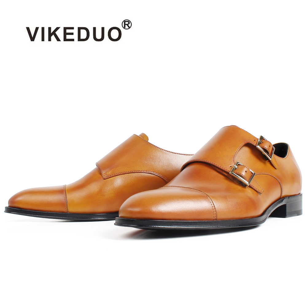 VIKEDUO Plain Brown Patina Handmade Monk Shoes Men s Genuine Leather Wedding Office Footwear New Round