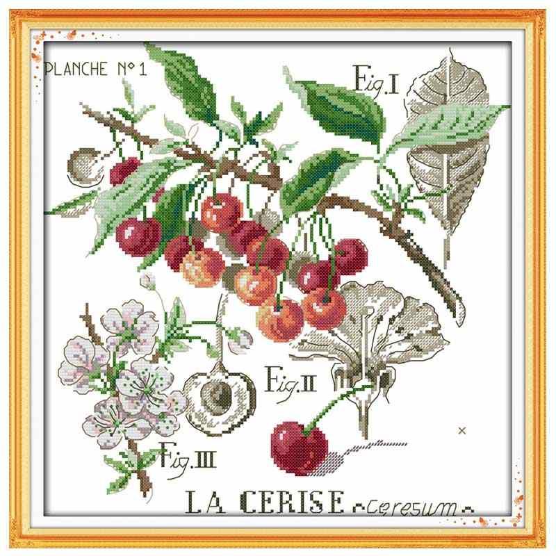 เงาของดอกไม้Rose Poppyเชอร์รี่ปักครอสติส 11CT 14CT Cross StitchชุดDIYชุดCross-Stitchเย็บปักถักร้อยเย็บปักถักร้อย
