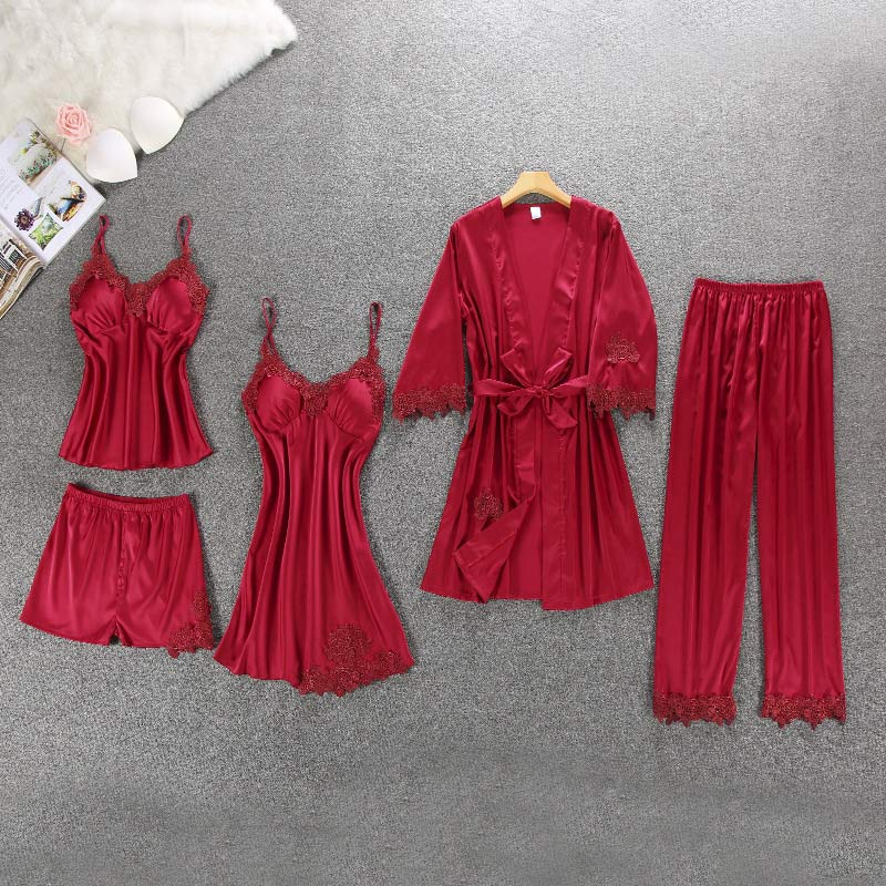 5 Pieces Women's Silk Lace Pajamas Set Patchwork Lace Up Night Robe Female 2019 Summer Sexy Pyjamas Suit Satin Sleepwear Woman