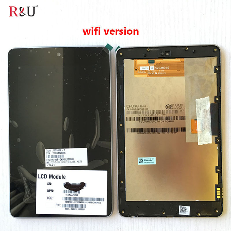 R&U lcd screen display with touch screen digitizer assembly with frame for ASUS Google Nexus 7 1st GEN 2012 ME370T ME370 ME370TG full new lcd display touch digitizer screen for asus google nexus 7 1st gen nexus7 2012 me370 me370t me370tg free shipping